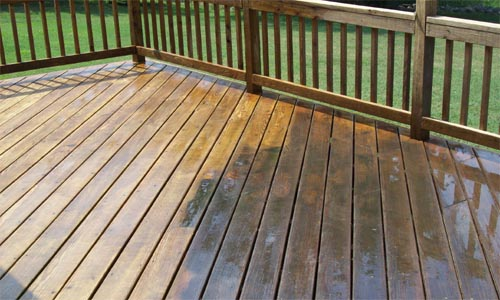 a deck after pressure washing